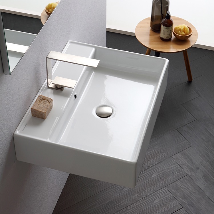 Bathroom Sink, Scarabeo 8031/R-60, Rectangular White Ceramic Wall Mounted or Vessel Sink