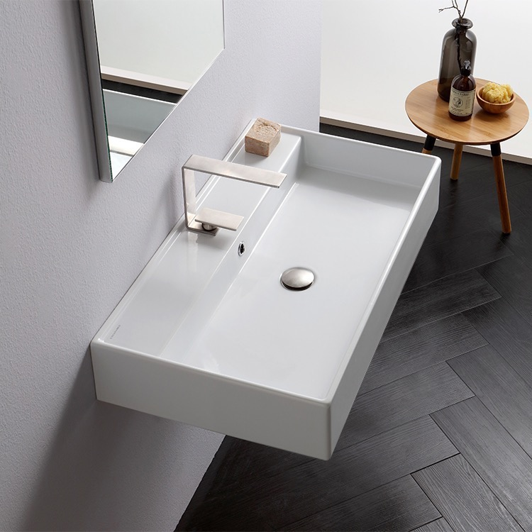 Bathroom Sink, Scarabeo 8031/R-80, Rectangular White Ceramic Wall Mounted or Vessel Sink