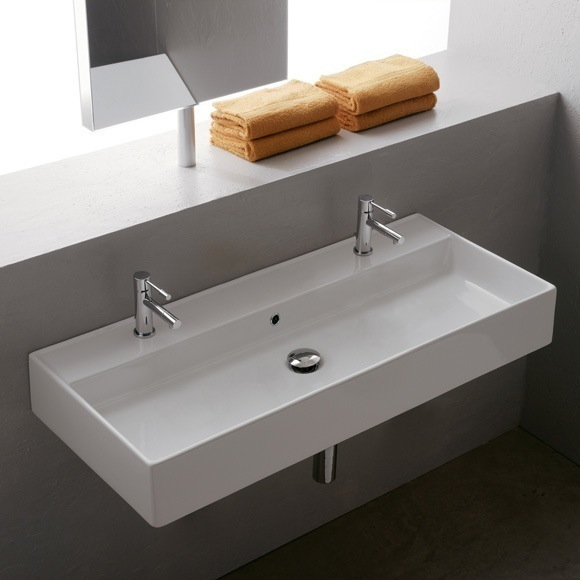 Bathroom Sink, Scarabeo 8031/R-100B, Rectangular White Ceramic Wall Mounted or Vessel Sink