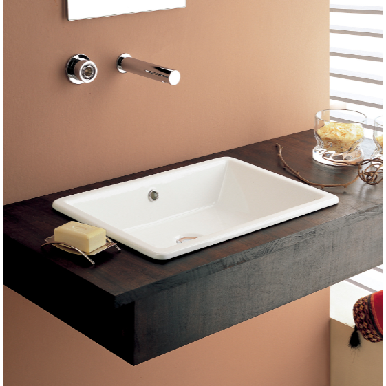 Bathroom Sink, Scarabeo 8032, Rectangular White Ceramic Drop In Or Vessel  Sink