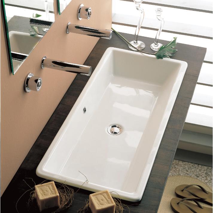 Bathroom Sink Scarabeo 8033 Rectangular White Ceramic Drop In Or Vessel