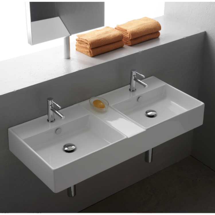 Bathroom Sink, Scarabeo 8035, Rectangular White Ceramic Wall Mounted or Vessel Double Sink