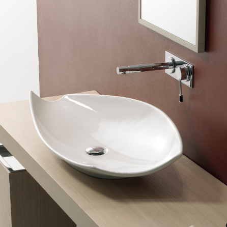 Bathroom Sink, Scarabeo 8052, Oval-Shaped White Ceramic Vessel Sink