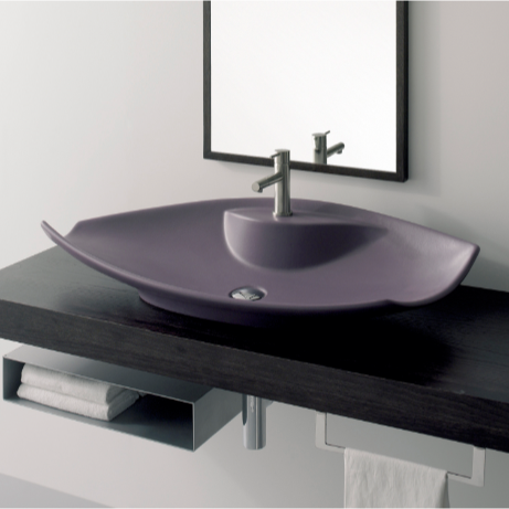 Bathroom Sink, Scarabeo 8054/R, Oval-Shaped White Ceramic Vessel Sink