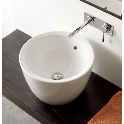 Bathroom Sink, Scarabeo 8055, Round White Ceramic Vessel Sink