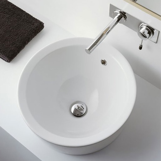 Bathroom Sink, Scarabeo 8055/A, Round White Ceramic Drop In Sink