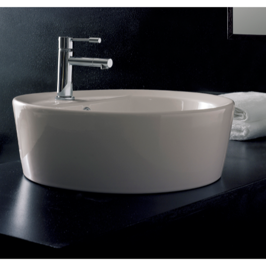 Bathroom Sink, Scarabeo 8055/A/R, Round White Ceramic Drop In Sink