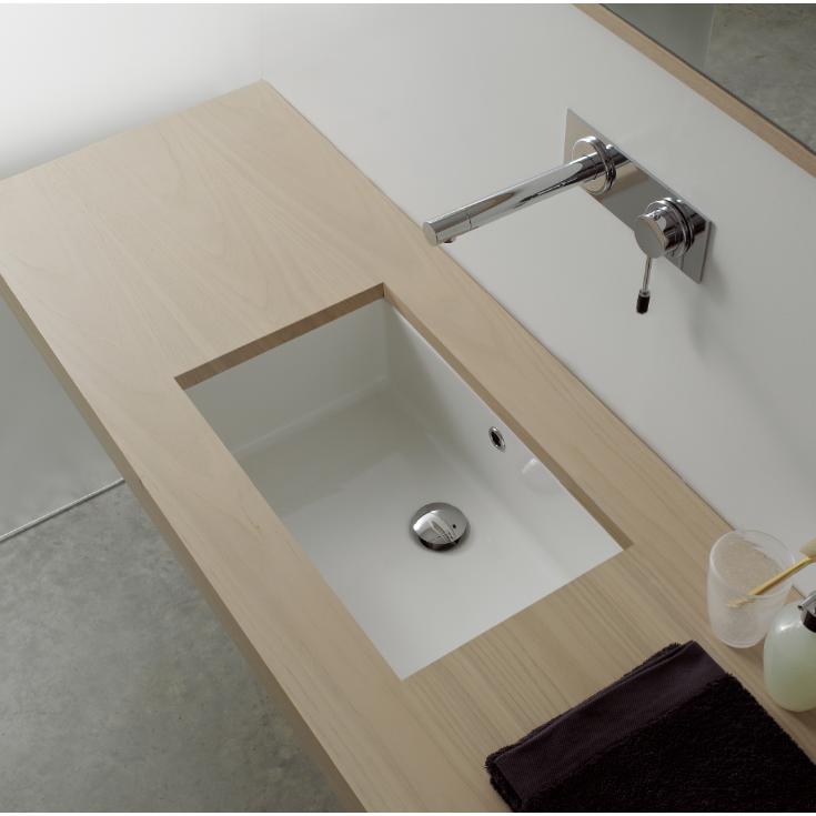Bathroom Sink Scarabeo 8091 22 Inch Rectangular Ceramic Undermount