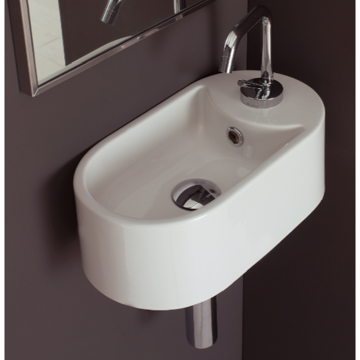 Bathroom Sink, Scarabeo 8093/B, Oval-Shaped White Ceramic Wall Mounted Sink