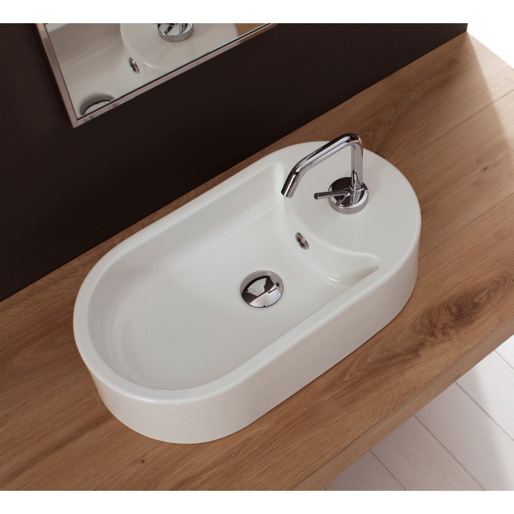 Bathroom Sink, Scarabeo 8096, Oval-Shaped White Ceramic Vessel Sink