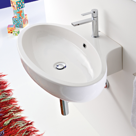 Bathroom Sink, Scarabeo 8109, Oval Shaped White Ceramic Wall Mounted or Vessel Bathroom Sink