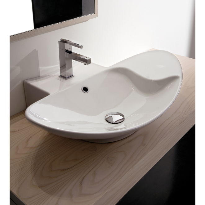 Bathroom Sink, Scarabeo 8201, Oval-Shaped White Ceramic Wall Mounted or Vessel Sink