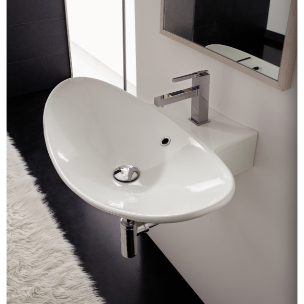 Bathroom Sink, Scarabeo 8204, Oval-Shaped White Ceramic Wall Mounted or Vessel Sink