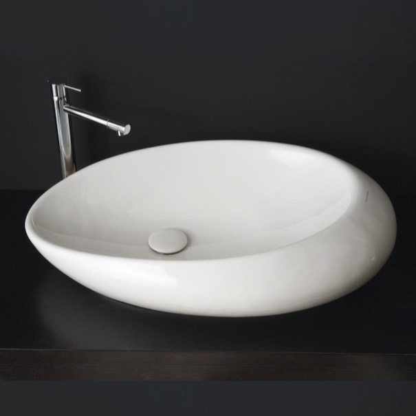Bathroom Sink, Scarabeo 8601, Oval Shaped White Ceramic Vessel Bathroom Sink
