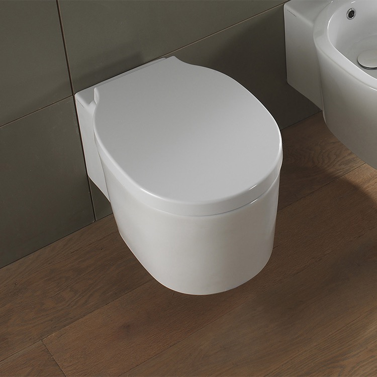 Toilet, Scarabeo 8812, Round White Ceramic Wall Mounted Toilet