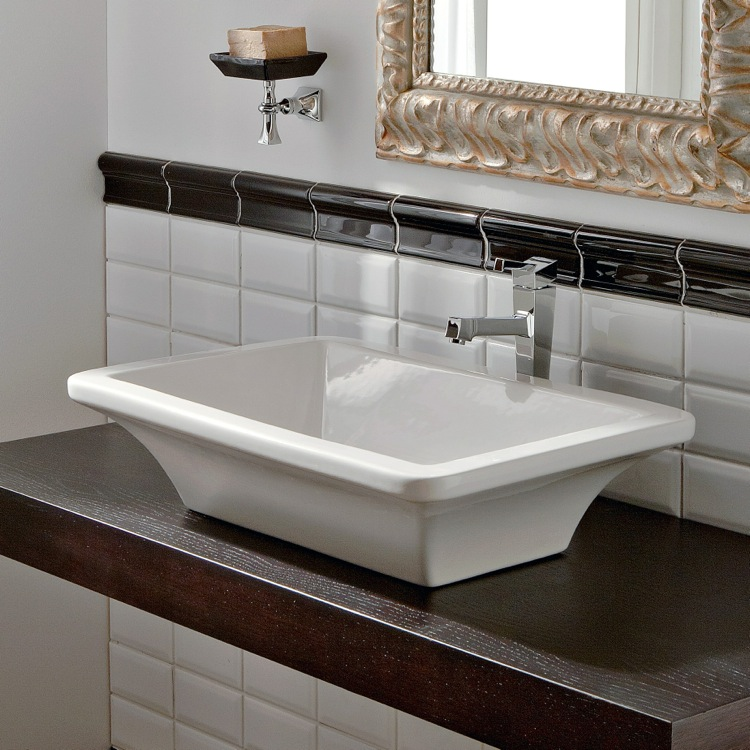 Bathroom Sink, Scarabeo 4002, Rectangular White Ceramic Vessel Sink