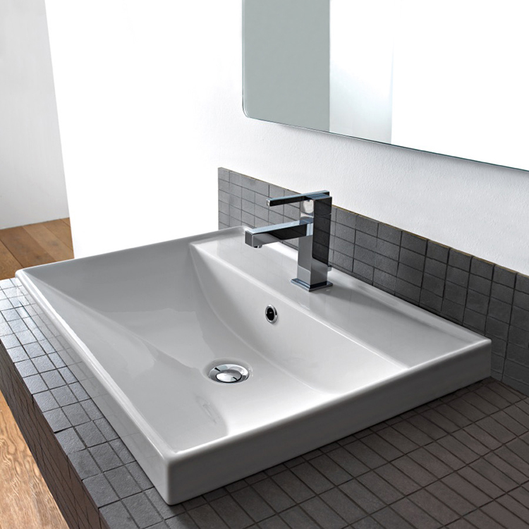 Bathroom Sink Scarabeo 3001 Square White Ceramic Drop In Or Wall Mounted