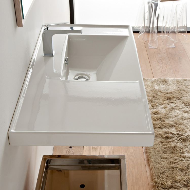 Bathroom Sink, Scarabeo 3009, Rectangular White Ceramic Drop In or Wall Mounted Bathroom Sink