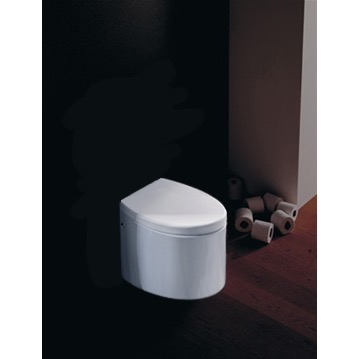 Toilet, Scarabeo 8210, Round White Ceramic Floor Toilet