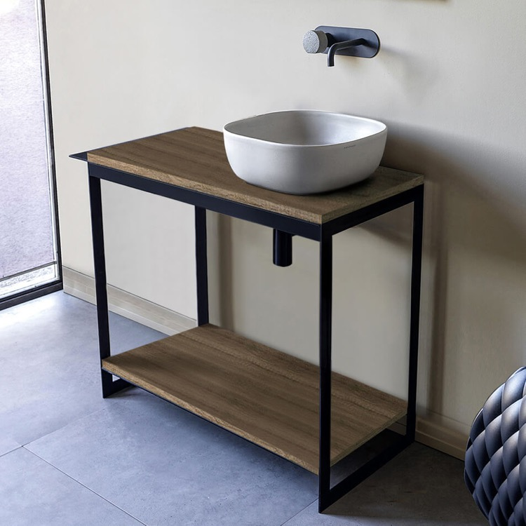 Console Bathroom Vanity, Scarabeo 1806-SOL4-89, Console Sink Vanity With Ceramic Vessel Sink and Natural Brown Oak Shelf