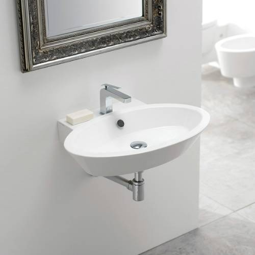 Bathroom Sink, Scarabeo 2003, Oval Shaped White Ceramic Wall Mounted or Vessel Bathroom Sink