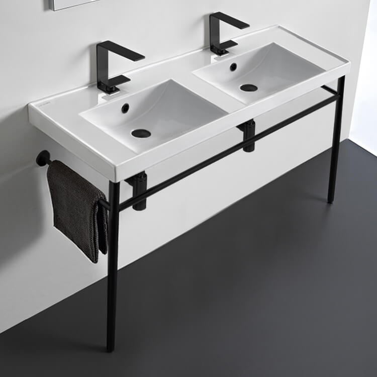 Bathroom Sink, Scarabeo 3006-CON-BLK, Double Ceramic Console Sink and Matte Black Stand