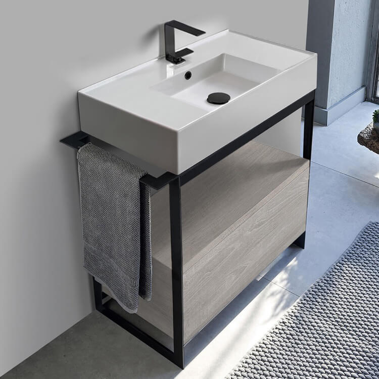 Console Bathroom Vanity, Scarabeo 5123-SOL1-88, Console Sink Vanity With Ceramic Sink and Grey Oak Drawer