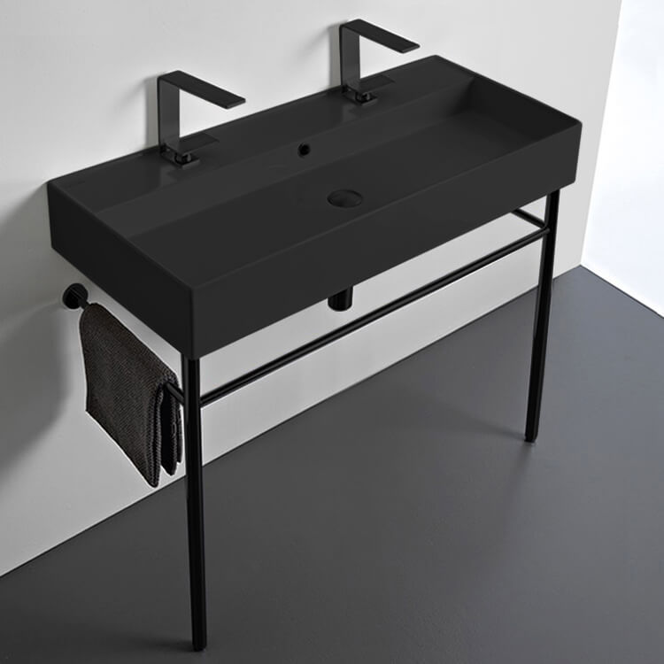 Bathroom Sink, Scarabeo 8031/R-100B-49-CON-BLK, Double Matte Black Ceramic Console Sink and Matte Black Stand