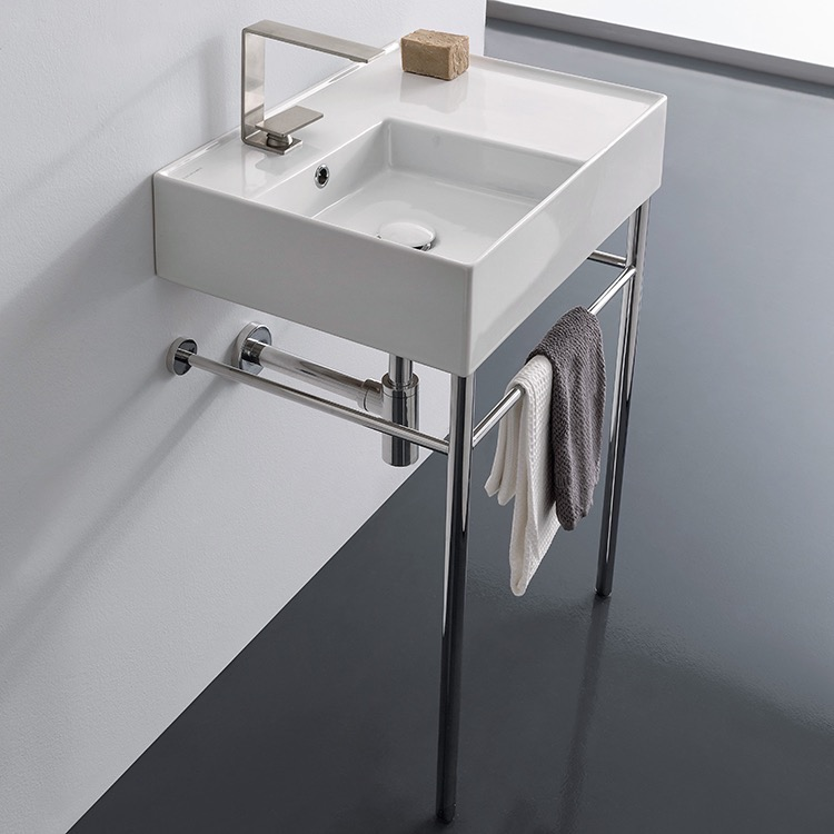 Bathroom Sink, Scarabeo 5114-CON, Rectangular Ceramic Console Sink and Polished Chrome Stand