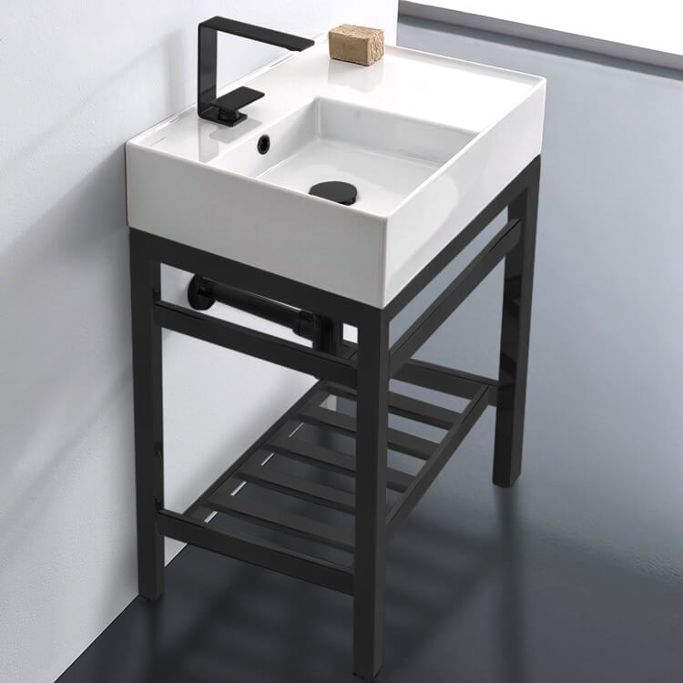 Bathroom Sink, Scarabeo 5114-CON2-BLK, Modern Ceramic Console Sink With Counter Space and Matte Black Base