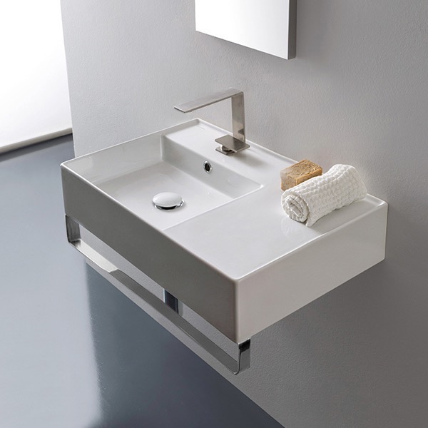 Bathroom Sink, Scarabeo 5114-TB, Rectangular Ceramic Wall Mounted Sink With Counter Space, Towel Bar Included