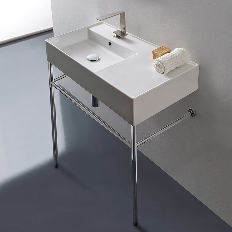 Bathroom Sink, Scarabeo 5115-CON, Rectangular Ceramic Console Sink and Polished Chrome Stand