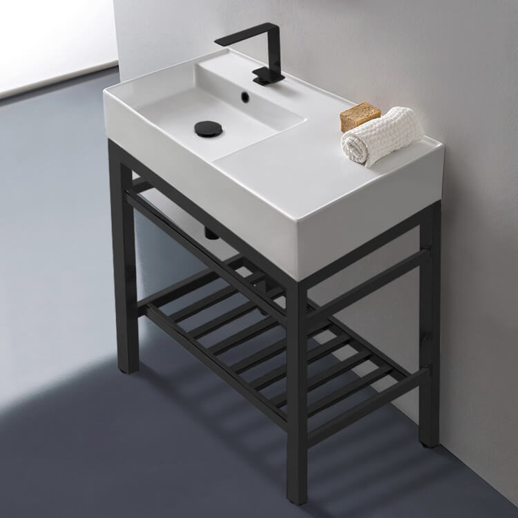 Bathroom Sink, Scarabeo 5115-CON2-BLK, Modern Ceramic Console Sink With Counter Space and Matte Black Base