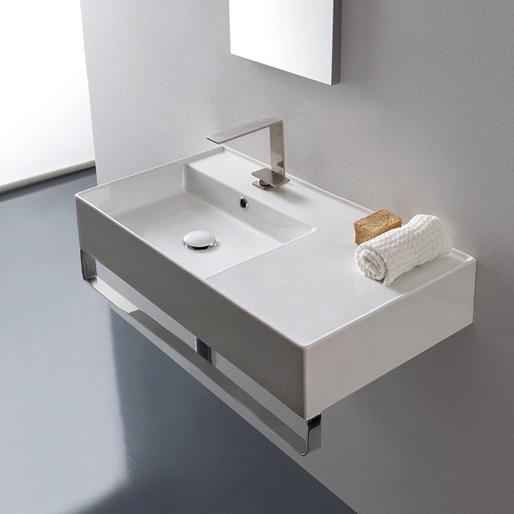 Bathroom Sink, Scarabeo 5115-TB, Rectangular Ceramic Wall Mounted Sink With Counter Space, Includes Towel Bar