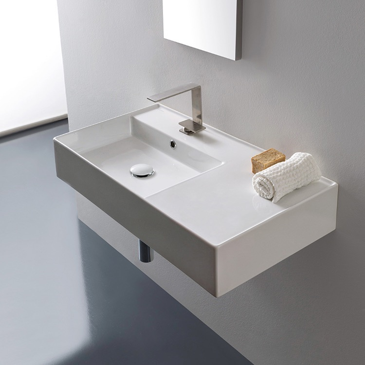 Bathroom Sink, Scarabeo 5115, Rectangular Ceramic Wall Mounted or Vessel Sink With Counter Space