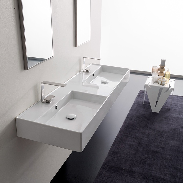 Bathroom Sink, Scarabeo 5116 Two Hole, Double Rectangular Ceramic Wall  Mounted Or Vessel