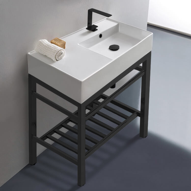 Bathroom Sink, Scarabeo 5118-CON2-BLK, Modern Ceramic Console Sink With Counter Space and Matte Black Base
