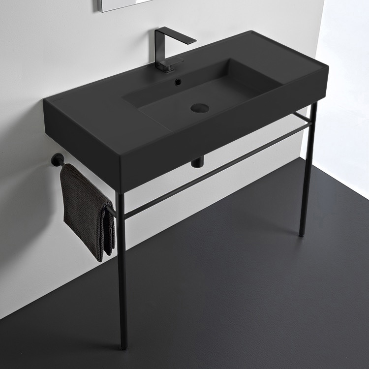 Bathroom Sink, Scarabeo 5124-49-CON-BLK, Matte Black Ceramic Console Sink and Matte Black Stand