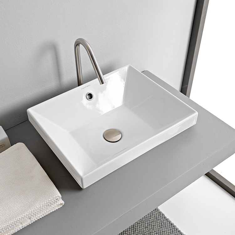 Bathroom Sink, Scarabeo 5130, Rectangular White Ceramic Drop In Sink