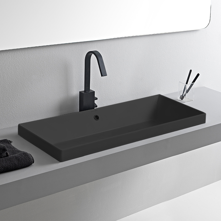 Bathroom Sink, Scarabeo 5132-49, Rectangular Matte Black Ceramic Trough Drop In Sink