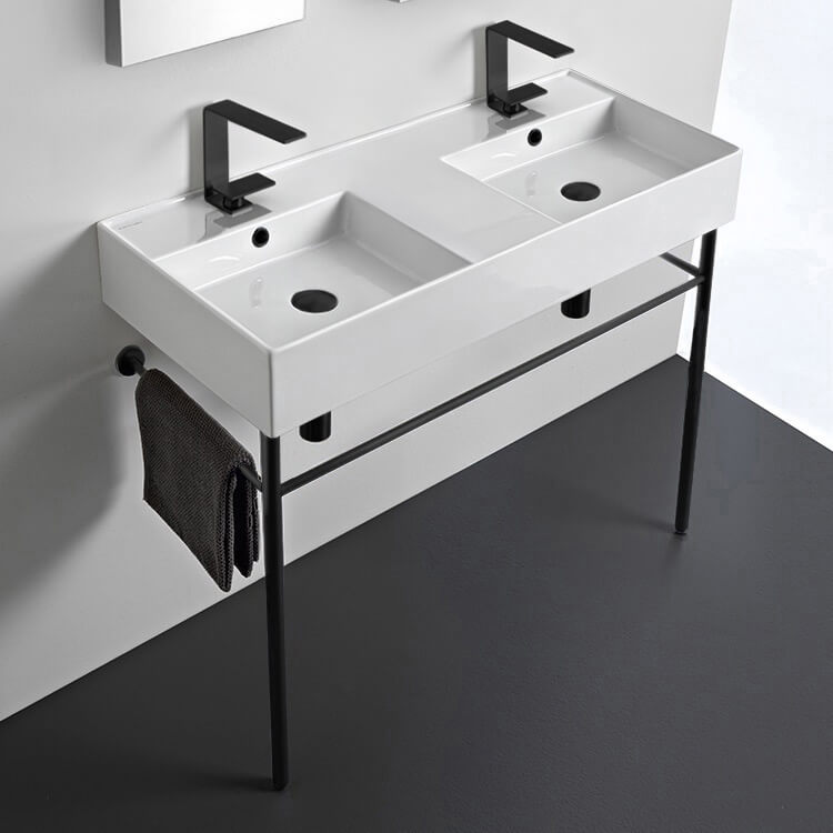 Bathroom Sink, Scarabeo 5142-CON-BLK, Double Ceramic Wall Mounted Sink With Matte Black Stand