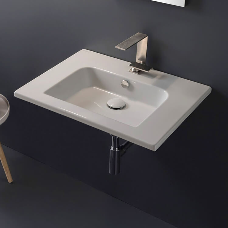 Bathroom Sink, Scarabeo 5210, Sleek Rectangular Ceramic Wall Mounted Sink