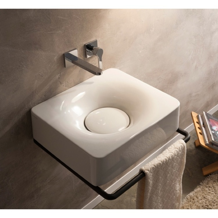 Bathroom Sink, Scarabeo 6001, Rectangular White Ceramic Wall Mounted or Vessel Sink