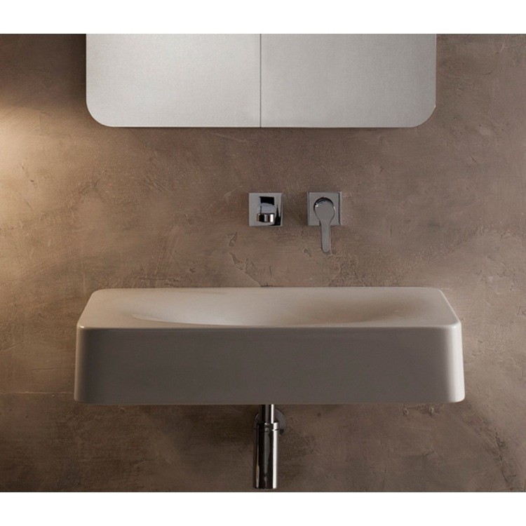 Exceptionnel Bathroom Sink, Scarabeo 6002, Rectangular White Ceramic Wall Mounted Or  Vessel Sink
