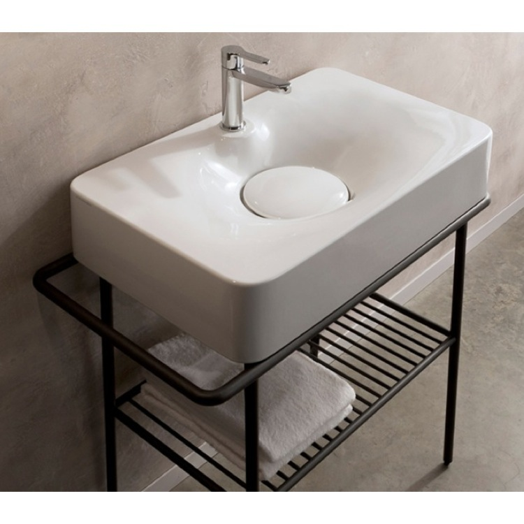 Bathroom Sink, Scarabeo 6004, Rectangular White Ceramic Wall Mounted or Vessel Sink