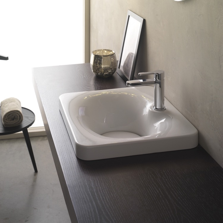 Bathroom Sink, Scarabeo 6013, Square White Ceramic Drop In Sink