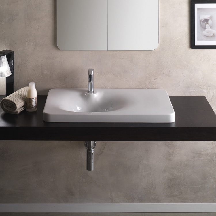 Bathroom Sink, Scarabeo 6014, Square White Ceramic Drop In Sink