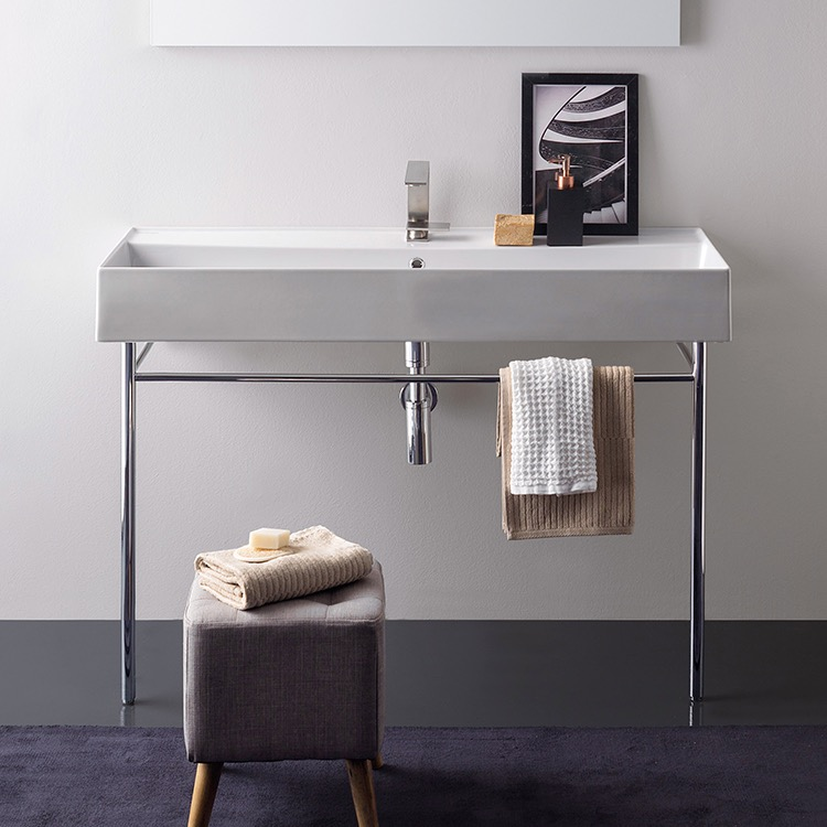Bathroom Sink, Scarabeo 8031/R-120A-CON, Large Rectangular Ceramic Console Sink and Polished Chrome Stand