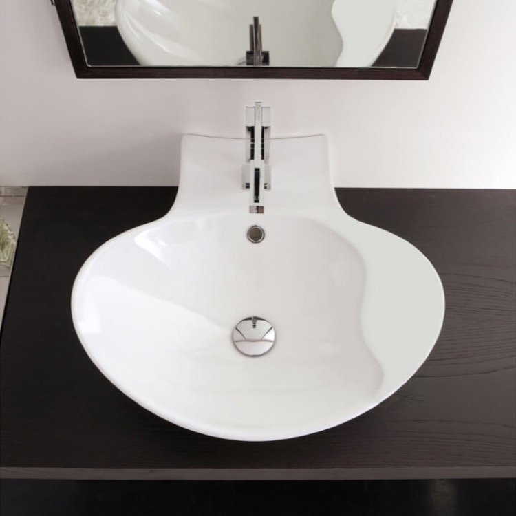 Bathroom Sink, Scarabeo 8202, Oval-Shaped White Ceramic Wall Mounted or Vessel Sink