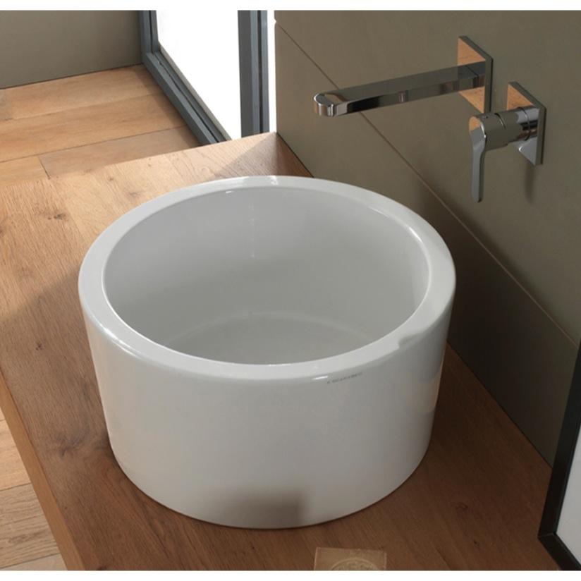 Bathroom Sink Scarabeo 8807 Round White Ceramic Vessel Bucket